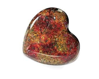 Huge Ring Big Heart Ring Fire Warm Colors Costume Jewelry Interesting Boho Glitter Ring