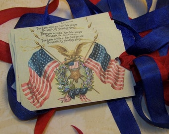 4th of July Tags Independence Day Americana Patriotic American Flag Tags July 4th Vintage Style Set of 6 or 9