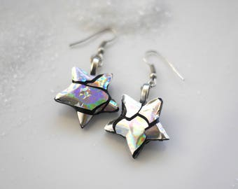 Star earrings / holographic jewelry