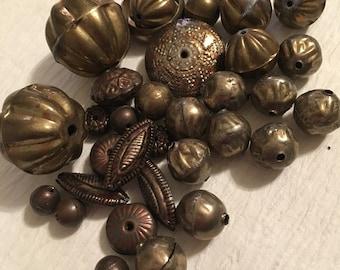 "Assortment of vintage brass beads 16+"" 24 beads"