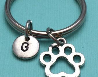 Paw print keychain, paw keychain, paw charm, animsl print keychain, personalized keychain, initial keychain, animal keychain
