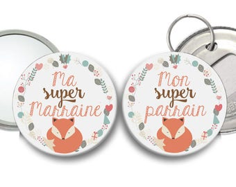 mirror godmother and Godfather Fox themed bottle opener