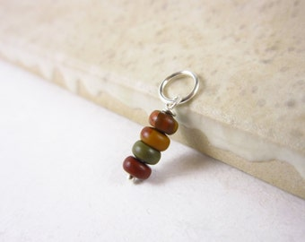 Gem Stack - Sterling Silver Charms - Picasso Jasper Pendant - Red Creek Jasper Stone Pendant - Natural Stone Jewelry - Wire Wrapped Pendant