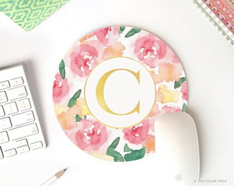 Monogram Mousepad | Monogrammed Mouse Pads | Mouse Pad Round | Mouse Pad Gold | Girly Mouse Pad | Modern Mouse Pads | Mouse Pad Floral