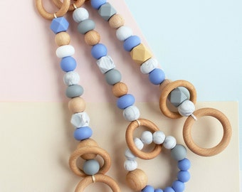 Set of 3 Wooden Baby Play Gym Toys, Hanging Baby Gym Toys, Silicone Teething Toy, Silicone and Wood Baby Gym Toy, Trendy Play Gym Toy