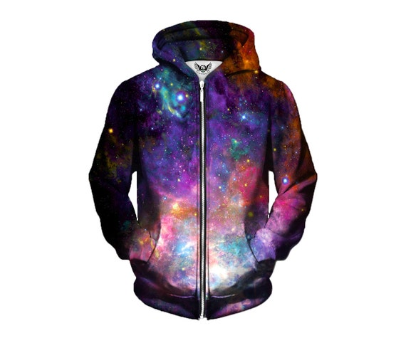 Stunning Space Pattern Hoodie - Colourful Nebula Concert Hoody - Cool Electric Galaxy - EDM Rave Wear wWVAbw5