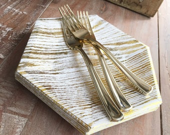 Mod HexGold Woodgrain Dessert Plates. Gold Party. White and Gold Paper Party Plates. Disposable Plates. & Trilogy Collection. Mod Silver Woodgrain Dessert Plates.