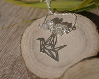Crystal origami necklace