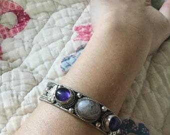 Vintage tribal boho smoky quartz and amethyst bracelet adjustable silver bracelet