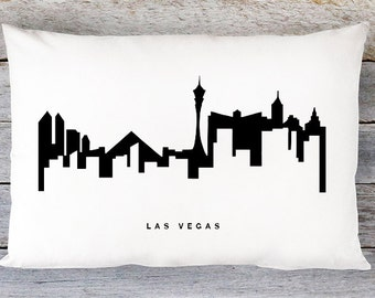 Las Vegas Skyline Pillow Cover - Las Vegas Cityscape Throw Pillow Cover - Modern Black and White Lumbar Pillow - By Aldari Home