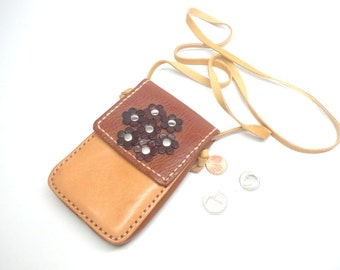 Leather phone neck bag, Leather neck pouch, Medicine bag, Leather necklace bag, leather phone pouch, phone purse, Minimalist neck pouch