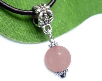 Silver plated - rose quartz sphere pendant