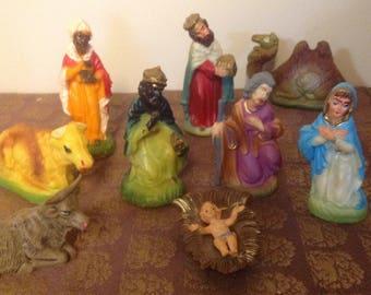 Vintage Hard Plastic Hong Kong Nativity Set, Vintage Nativity Set