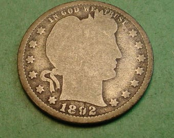 Barber Quarter 1892 Good Big Birth Day Coin<> # ET3703