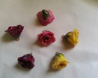 resin preserved mini rose bud pendant fuchsia, yellow or burgandy red