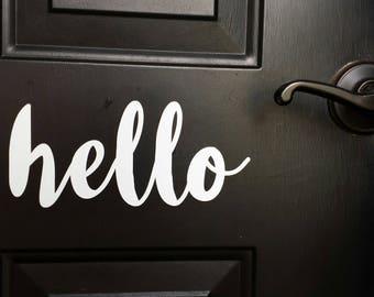Hello door decal - Front door decal - Hello Greeting