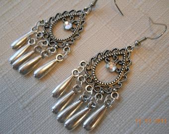 Silve Chandelier Earrings with Silver Teardrop Dangles