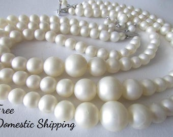 Graduated Pearl Necklace, Pearl Essence Necklace, Multi-strand Pearl Necklace, Vintage Pearl Necklace, White Pearl Necklace