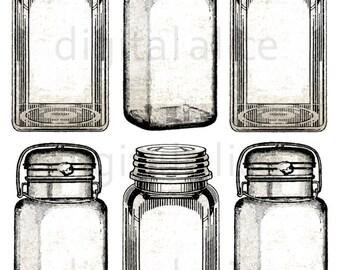 Vintage TAGS CANNING JAR - Instant Download digitale stampabile adesivi, tag, carte - Mason vasetti, pianura e seppia