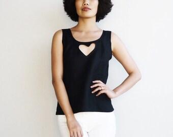 Black linen top,Linen blouse,Cutout top,Women heart top, Women Black top,Linen tank top,Minimalist top, Gift for her,Handmade in Australia