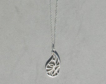 Large Paisley on Silver Plated Chain