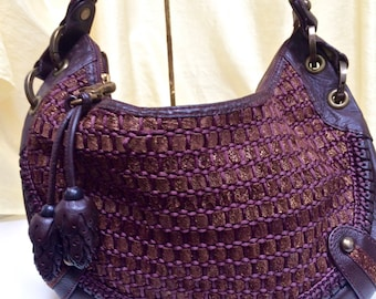 Vintage Isabella Fiore Quality Woven Leather and Fiber Bag with Leather Accent ~ Leather Pine Cones