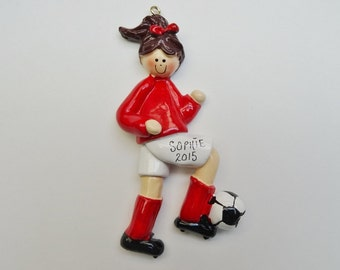 Personalized Soccer Player Girl Christmas Ornament - Custom Color Uniforms -  Personalized Free