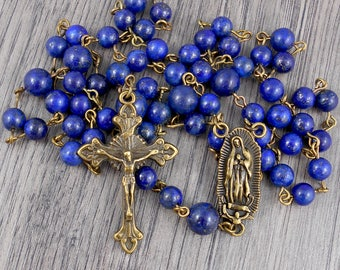 Lapis Lazuli Rosary with Our Lady of Guadalupe centrepiece