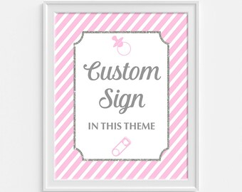 Pink Custom Made Baby Shower Sign, Pink Stripe Shower Table Sign, Pink & Gray, Party Decorations, Baby Girl, DIY Printable