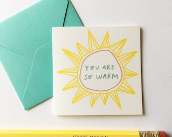 Tiny Card Set - Sun. Set of 8 Cards + Tuck in Envelopes. Holiday Card / Gift Tag