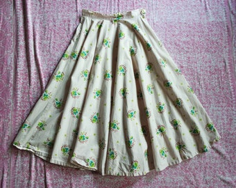 Vintage 1950s Cotton Circle Skirt - Floral Cotton Full Skirt - Spring Florals