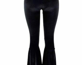 Black Velvet Bell Bottom Flares Leggings with High Waist & Stretchy Spandex Fit  154122