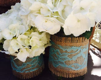 Mason Jar Wrap, Burlap & AQUA Lace Mason Jar Decoration, Wedding, Shower, Party, Centerpiece, Decoration