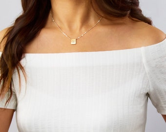 Customized Square Plate Necklace, Personalized tag, Initial Pendant, Squared necklace, Gold Filled, Sterling Silver, Rose Gold ZN00101