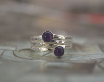 Silver Coiled Ring With Two Amethysts, Spiral Ring, Textured Ring, Two gemstone Ring, Wraparound Ring