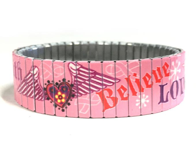 Pink Ribbon bracelet - Love - believe - winged heart - Stainless Steel - Stretch Bracelet - Wrist Art - Sublimation - gift for friend