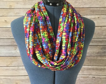 Autism Awareness Infinity Scarf / Autism Awareness / Puzzle Pieces / Scarf / Multicolored Scarf / Infinity Scarf / Autism / Teacher