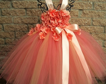 CORAL FLOWERS, TUTU Dress, Coral Tutu Dress, Flower Girl Gown, Pageant Dress, First Birthday, Baptism Dress, Christening Gown, Wedding Dress