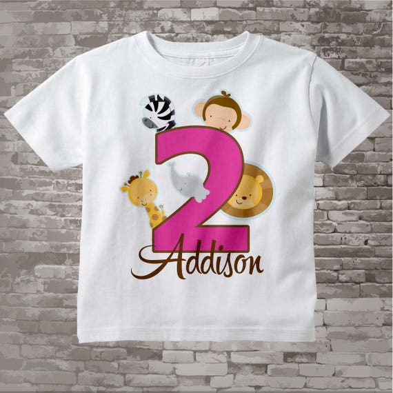 Two Year Old Jungle Birthday Shirt With Name Second Birthday