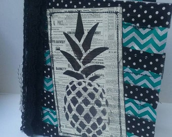 Pineapple junk journal. Black and white junk journal. USA shipping included.