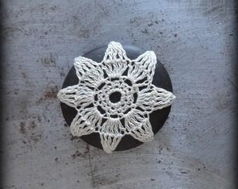 Home Decor, Crochet Lace Pebble, Ecru Thread, Table Decoration, Nature, Handmade, Original, Small, Monicaj