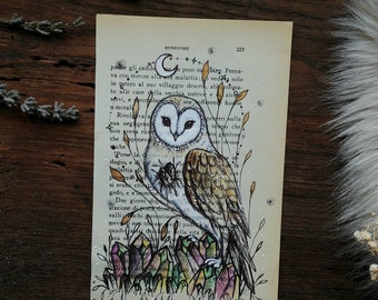 Original painting on page of book, Art Owl, barn owl with crystals, animal art, gift idea