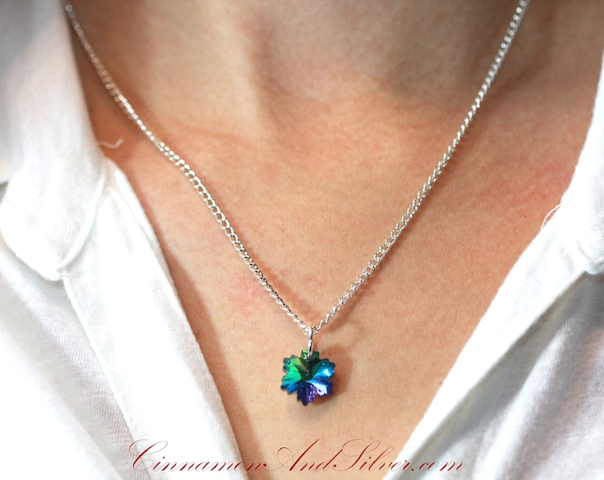 Blue Crystal Snowflake Pendant Necklace, Sparkling Blue Snowflake Crystal Pendant Necklace, Snow Queen Fairytale Snowflake Necklace