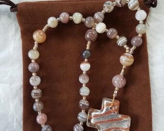 Agate and Lampwork Prayer Beads