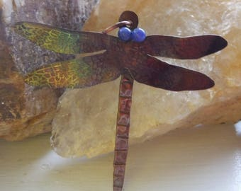 copper patina dragonfly pendant