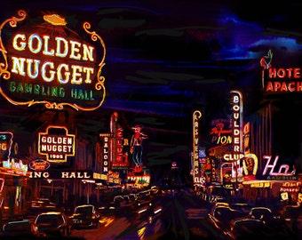 Las Vegas Art Print, Vintage Vegas art, Old Vegas Artwork