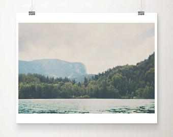 Lake Bled photograph Slovenia photograph landscape photography mountains photograph wanderlust art travel photography lake print