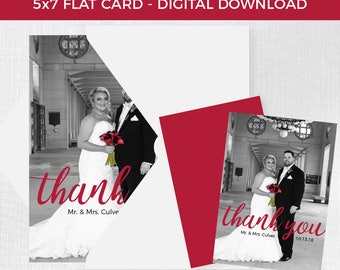 Wedding Thank You 5x7 Flat Card // Digital Download