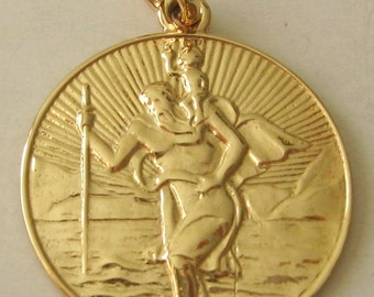 Large Genuine SOLID 9K 9ct YELLOW GOLD St Saint Christopher  Pendant Gift