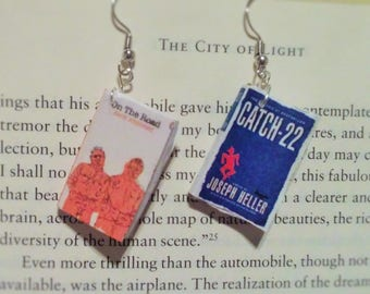 Book Earrings - On the Road and Catch-22